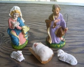 five piece setup of Joseph and Mary with baby Jesus in a Manger   vintage Christmas decoration
