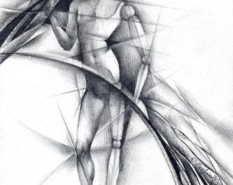 Abstract pencil drawing original abstract drawing