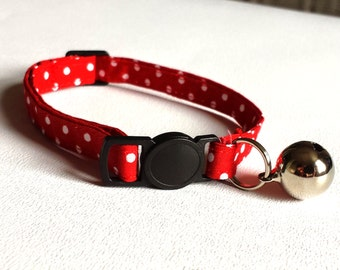 Cat Collar - red spotty with a quick release safety clasp