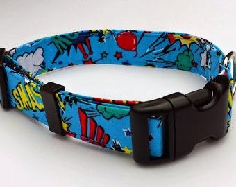 Dog Collar - Blue Superhero Dog Collar