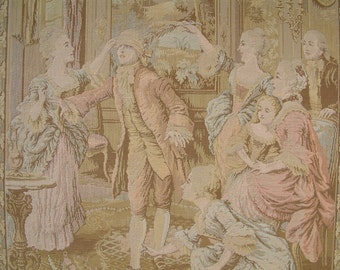 French vintage very large tapestry in pastel colors depicting an 18th century parlor game of Blind Man's Bluff.  Colin Maillard game