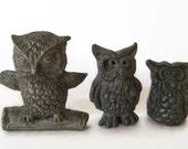 RESERVED FOR LINDA Vintage Solid Pewter Owl Figurines Little Woodland Collectables