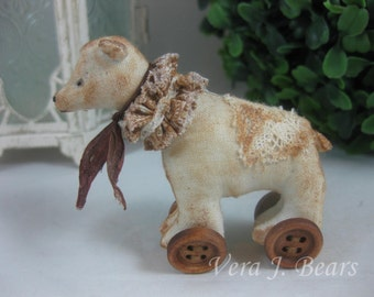 Miniature Artist Bear Pull toy for Bear or Doll Handmade by Vera J.Bears