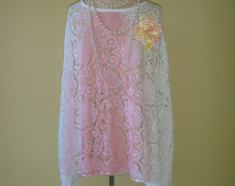 Beautiful Rose Pink and White Vintage Cotton Lace Poncho