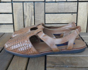 Vintage Lady's Brown Woven Leather Peep Toe Shoes Sandals Size EUR 41 US W 9 1/2