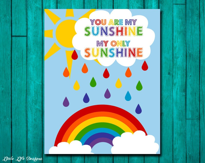You Are My Sunshine Wall Art Childrens Nursery Decor Rainbow
