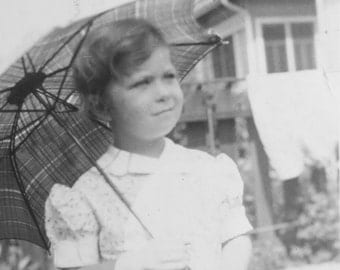 A Beautiful day For A Walk - 1930's Little Girl and Her Umbrella Snapshot Photo - Free Shipping