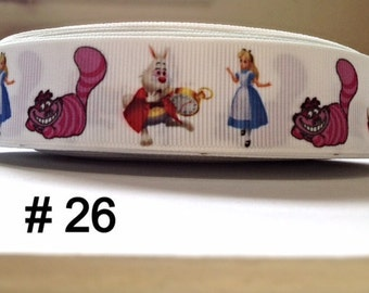 """3 or 5 yard - 1"""" Alice In Wonderland and Friends White Grosgrain Ribbon Hair bow"""