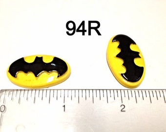 2/3/5 Yellow Batman # 94R Resin Flat back Cabochon Hair Bow Center