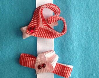Stripped  Heart Clip Set