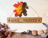 Give Thanks Holiday Signs with Polymer clay Inlay Copper hanging wire and holiday leaf