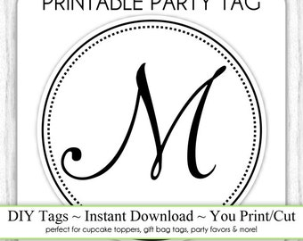 Instant Download - LETTER M, Monogram Party Tag, Black and White Monogram, DIY Cupcake Topper, You Print, You Cut
