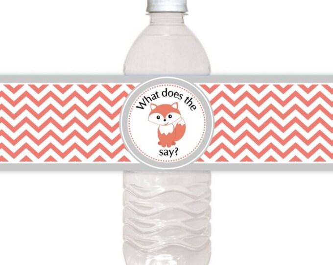 Chevron and Fox Water Bottle Labels, CUSTOM Printable Water Bottle Labels, you print, you cut, DIY water bottle labels