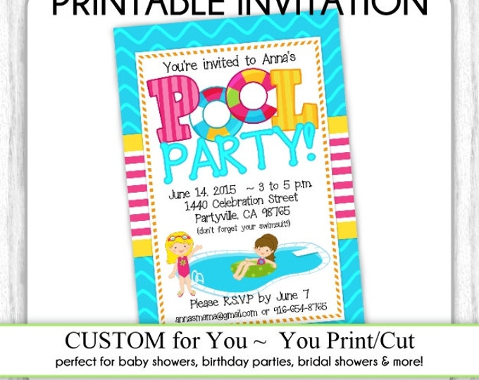 Pool Party Invite, Summer Birthday Invitation, First Birthday Invitation, Digital Design - CUSTOM for You - 4x6 or 5x7 size - YOU print