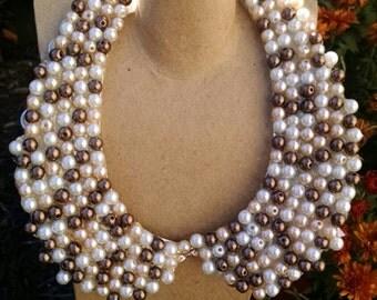 Multicolor pearl bib necklace
