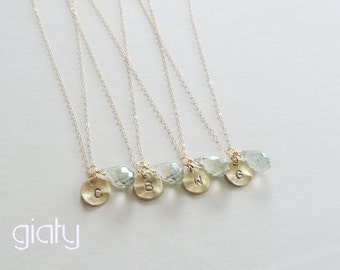 Set of Four Stone Initial Necklaces - small necklace, everyday necklace, simple necklace, bff necklace, thin necklace, charm necklace