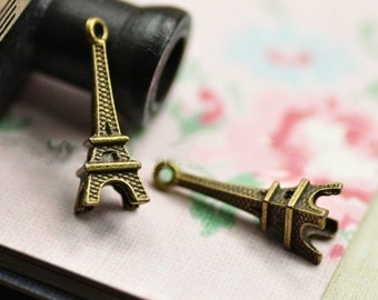 Eiffel Tower Charms -50pcs antique bronze , silver or gold small Eiffel Tower Charm Pendants 23x8mm