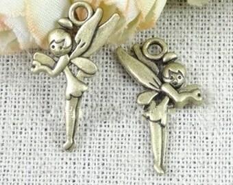 Angel charms-100 pcs of antique bronze angel girl Charm Pendant 25x16mm