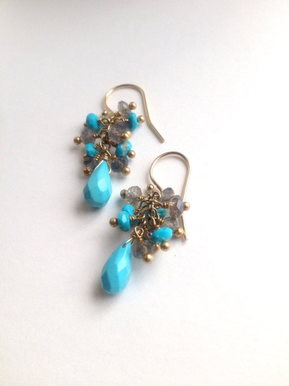 Genuine Turquoise Earrings  Sleeping Beauty  Labradorite Earrings  Robins Egg Blue  Cluster  December Birthstone