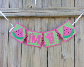 Pink and Green Watermelon High Chair Banner