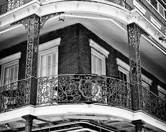 New Orleans French Quarter Black and White Photograph, Balcony, Architecture