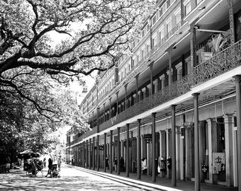 New Orleans French Quarter Black and White Photograph, Jackson Square, Street Scene, Architecture