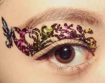 Temporary Tattoo Eye Makeup Eyeshadow appliqué festival Tie Dye Masquerade mask halloween makeup costume accessories festival party clubbing