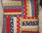 "String Porch Pillow 18"" x 18"" Pillow Cover, Quilted, Americana, Red, White, Blue, Floral, Striped, Sunroom, Deck, Patio, Handmade, Patchwork"