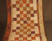 "Sunset 20"" x 52"" Quilted Table or Dresser Runner, Batik, Rust, Orange, Burgundy, Gold, Fall, Autumn, Handmade, Patchwork, Contemporary"