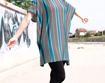 Oversize Jersey tunic/Multicolored Maxi Tunic/Dress/Loose Top/Tunic/Caftan
