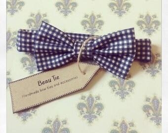 Baby boys bow tie, baby bow tie, gingham baby bow tie, blue boys bow tie