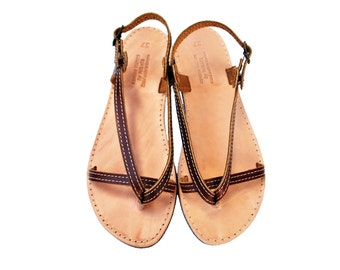 Woman Sandal Leather in Brown Color