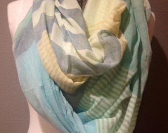 Aqua gray yellow and white green multi pattern fun infinity circle loop or eternity scarf