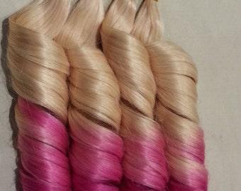 "18"" 100grs,100s,Nail (U) Tip Pastel Human Hair Extensions # T613/pink"