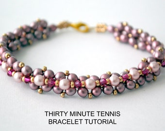 Tutorial: Thirty Minute Tennis Bracelet - Bead Weaving Tutorial, Personal Or Commercial Use