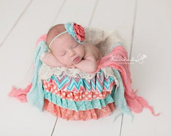 Coral and Aqua Ruffle Bucket - Photography Prop
