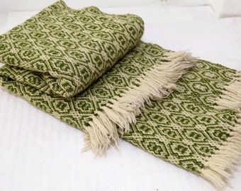 Handmade Leaf Green Wool Throw