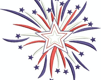 Fireworks, 4th of July Machine Embroidery Design Applique