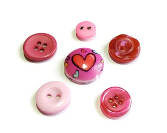 PINK | Fridge Magnets | Vintage Buttons | Set Of 6 | Love Heart | Home Decor | Office Magnets | Needle Keepers | Gift Idea | Stocking Filler