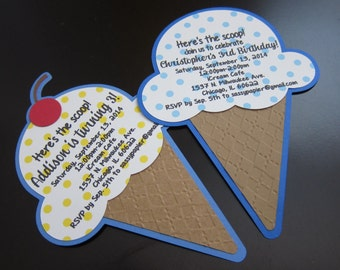 Handmade Ice Cream Cone Invitation Card