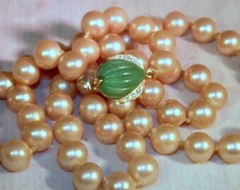 Vintage Marvella Creamy Pearl Necklace, Each Glass Pearl Hand Knotted,Gorgeous Emerald, Rhinestone Clasp Stamped  MARVELLA,