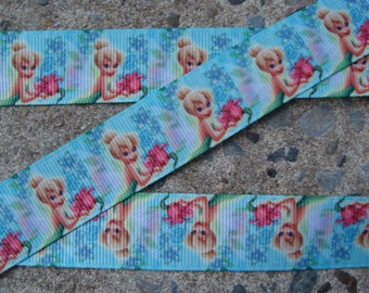 """Tinkerbell Ribbon 3 yards Tinker Bell Printed Ribbon 7/8"""" ribbon bow ribbon hair bow ribbon craft supplies"""