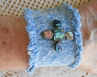 Denim Cuff Bangle Bracelet, abalone paua shells beads, jeans, upcyled vintage denim jewelry, paua shell bracelet, for 6to 6.5 inch wrist 204