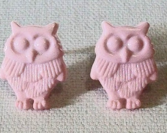 SALE Fun Pale Pink Owl Shaped Small Pierced Earrings
