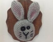Amigurumi Crochet Rabbit Taxidermy Mount - Grey Bunny