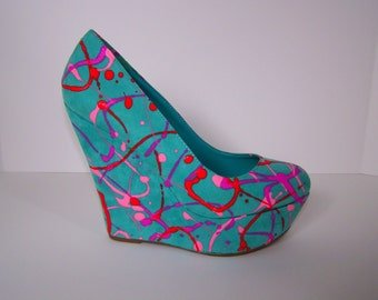 Light Turquoise Handpainted Platform Wedges