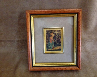 Vintage Framed Print, Blessed Virgin Mary and Baby Jesus, Czeazioni, Made in Italy