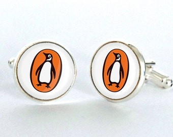 Penguin Books Cufflinks - Up-cycled Mens Fashion Cuff Links- Literary Gift for Him or Her Silver Plated Cufflinks