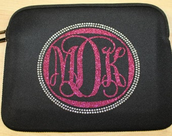 "Monogram tablet sleeve, 8"" neoprene sleeve, monogram"