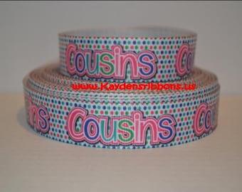 3 yards Cousins - Polka Dots - 7/8 inch  - Printed Grosgrain Ribbon
